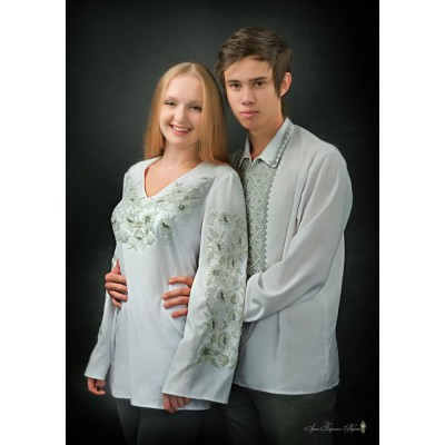 """Beads Embroidered Pair of Blouse and Shirt """"Honeymoon"""""""