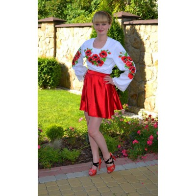 """Beads Embroidered Blouse with Skirt """"Wild Poppies"""""""