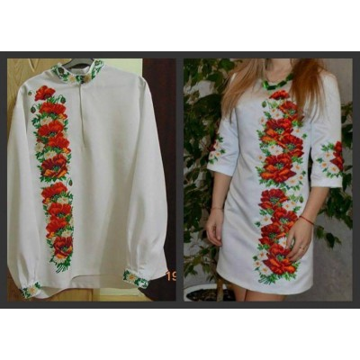 "Beads Embroidered Shirt ""Floral Couple"""