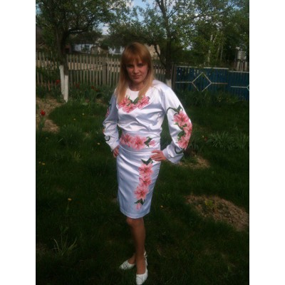 """Beads Embroidered Dress """"Pink Lillies"""""""