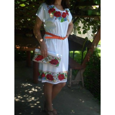 """Beads Embroidered Dress with Clutch """"Summer Lady"""""""