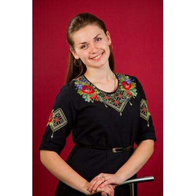 "Beads Embroidered Dress ""Ukrainian Night"""