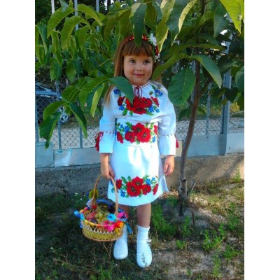 "Beads Embroidered Dress for girl ""Flower Princess"""