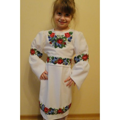 "Beads Embroidered Dress for girl ""Wreath of Flowers"""
