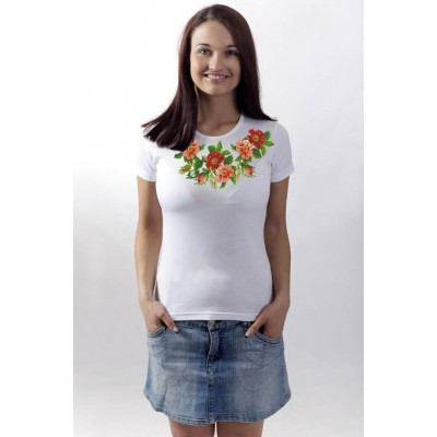 """Beads Embroidered T-shirt """"Roses"""""""