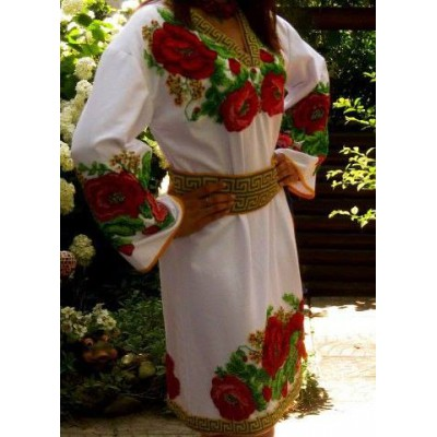 """Beads Embroidered Dress """"Royal Poppies"""""""