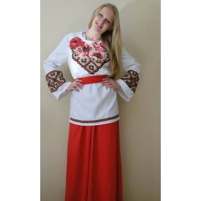 """Beads Embroidered Blouse with Skirt and  Belt """"Gentle Dream"""""""