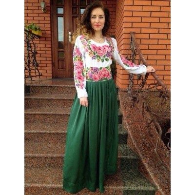 """Beads Embroidered Blouse with Skirt """"Rose Paradise 2"""""""