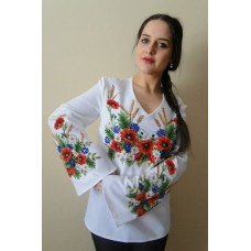 "Beads Embroidered Blouse ""Wheat&Flowers"""