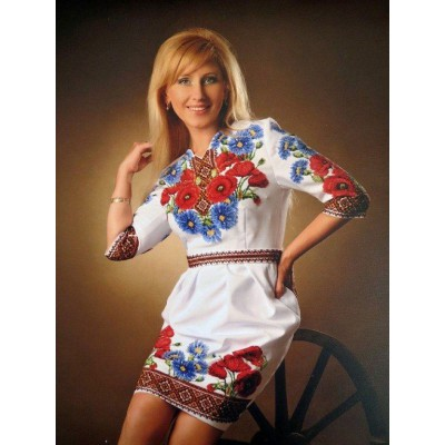 """Beads Embroidered Dress """"Night Flowers"""""""