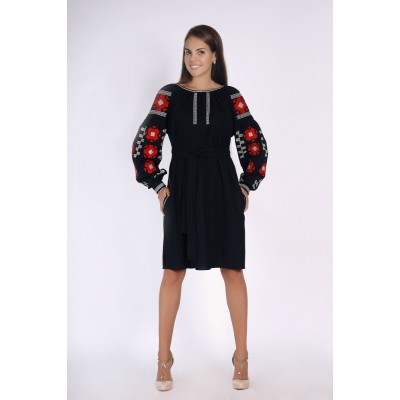 Boho Style Ukrainian Embroidered Classic Dress Black with Red Embroidery