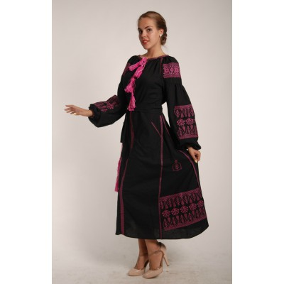 Boho Style Ukrainian Embroidered Maxi Broad Dress  Black with Violet Embroidery