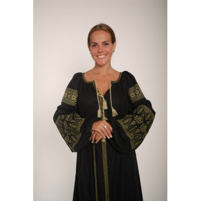 Boho Style Ukrainian Embroidered Maxi Broad Dress  Black with Golden Embroidery