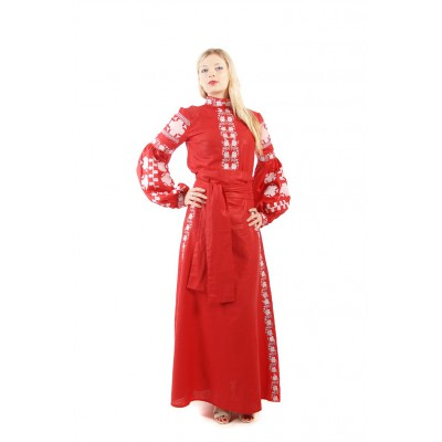 Boho Style Ukrainian Embroidered Maxi Broad Dress  Red with White Embroidery
