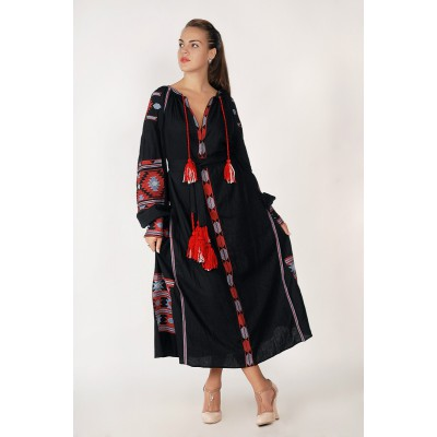 Boho Style Ukrainian Embroidered Maxi Broad Dress Black with Grey/Red Embroidery