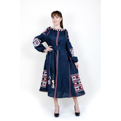 Boho Style Ukrainian Embroidered Maxi Broad Dress Dark Blue with White/Red Embroidery