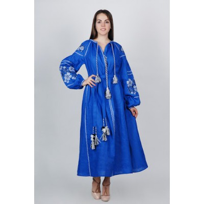 Boho Style Ukrainian Embroidered Maxi Broad Dress Electric Blue with White/Black Embroidery