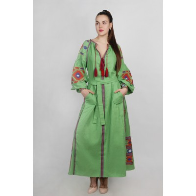 Boho Style Ukrainian Embroidered Maxi Broad Dress Green with Orange/Blue Embroidery