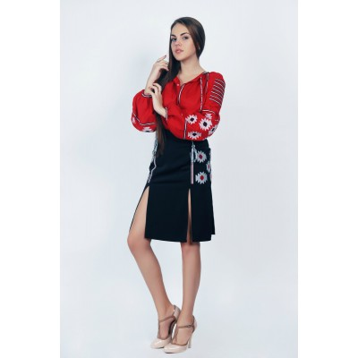 Boho Style Ukrainian Embroidered Blouse+Skirt Red and Black