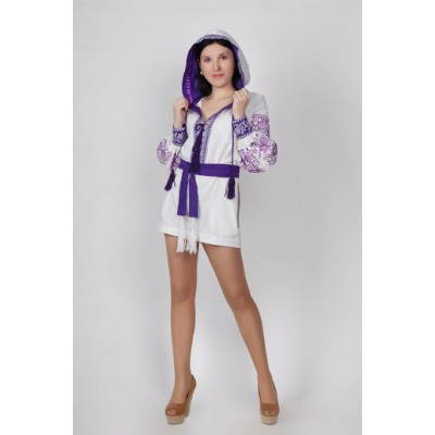Boho Style Ukrainian Embroidered Jumpsuit with Hood White with Violet Embroidery