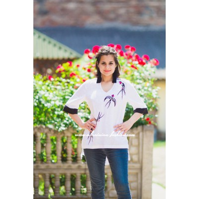 "Boho Style Embroidered Assymetric Blouse ""Summer Birds"" White/Black"