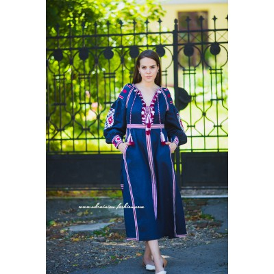 Boho Style Embroidered Maxi Dress Navy Blue with Red/White Embroidery