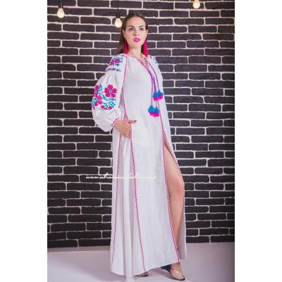 "Boho Style Embroidered Maxi Dress ""Flowers"" White with Pink/Blue Embroidery"
