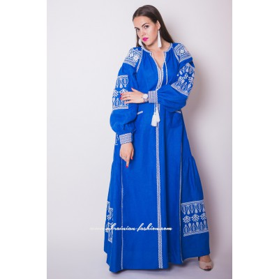 Boho Style Embroidered Maxi Dress Blue with White Embroidery