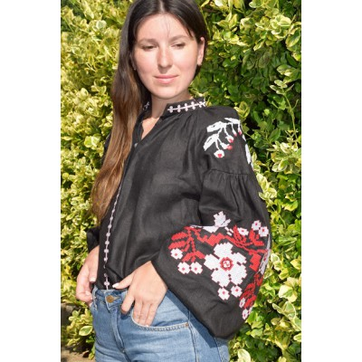 Boho Style Embroidered Blouse Black with Red/White Embroidery