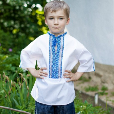 """Embroidered shirt for little boy """"Dmytryk"""" short sleeves"""