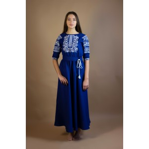 "Embroidered Dress ""Cotton Neptune"""