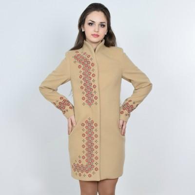 "Embroidered coat ""Chestnut"" beige"