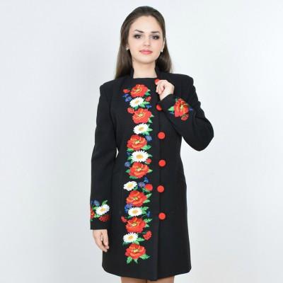 """Embroidered coat """"Flower Fantasy"""" black"""