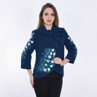 "Embroidered coat ""Bluebell"" dark blue"