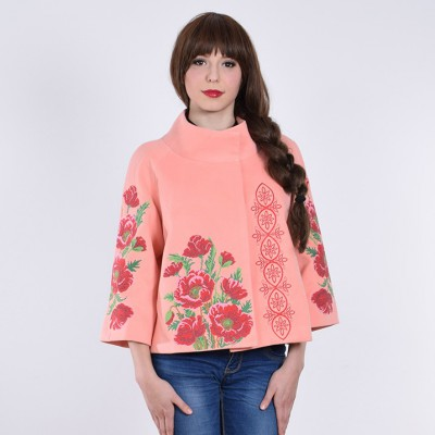 """Embroidered coat """"Luxurious Poppies"""" peach"""