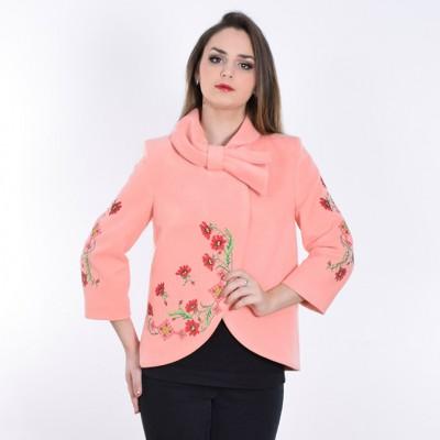 "Embroidered coat ""Flower Magic"" peach"