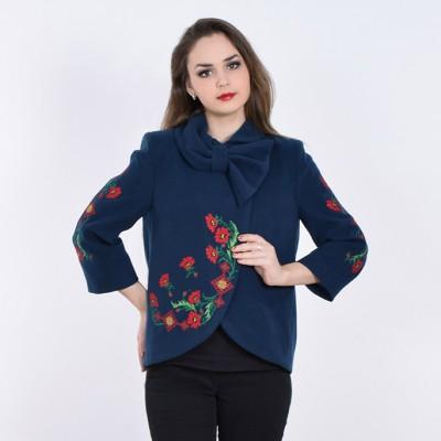 "Embroidered coat ""Flower Magic"" dark blue"