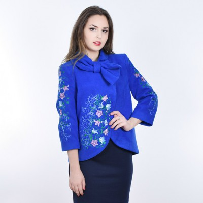"""Embroidered coat """"Bluebell"""" blue"""