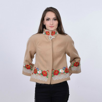 """Embroidered coat """"Lace"""" beige"""