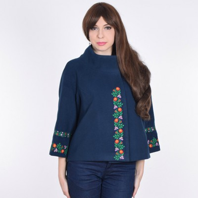 """Embroidered coat """"Flower Lace"""" dark blue"""