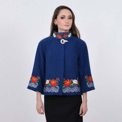 """Embroidered coat """"Lace"""" blue"""