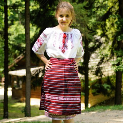 Traditional Skirt (Plakhta) Short Red