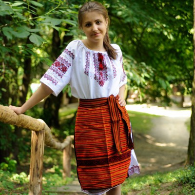 Traditional Skirt (Plakhta) Short Orange