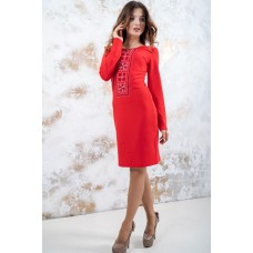 "Embroidered dress ""Fantasy"" Red"