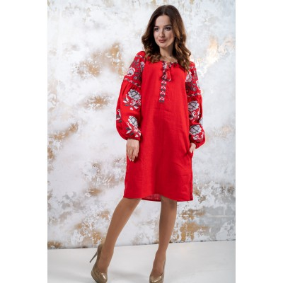 "Embroidered boho dress ""Charm"" Red"