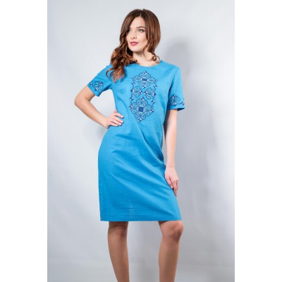 "Embroidered classic dress ""Elegy"" Azure"