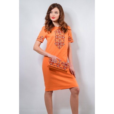 "Embroidered classic dress ""Elegy"" Peach"