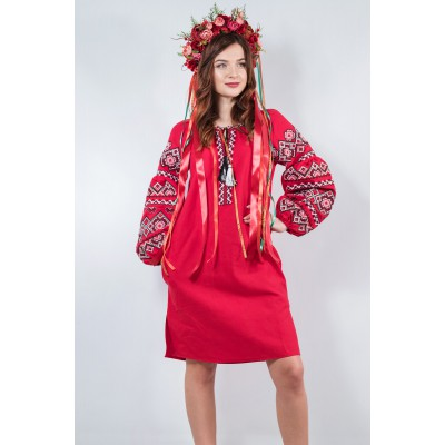 "Embroidered boho dress ""Fairy Story"" Cherry"