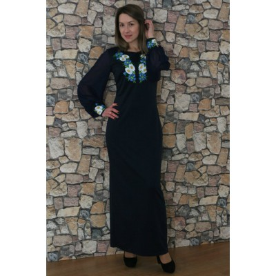 "Embroidered dress ""Cornflower Dreams 6"" navy"