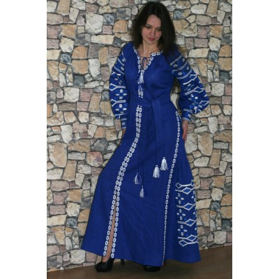 "Boho Style Ukrainian Embroidered Maxi Broad Dress Blue ""Grace"""